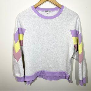 Heathered Gray Color Block Pullover Sweatshirt